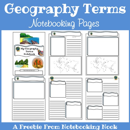Freebies: Geography Terms Notebooking Pages