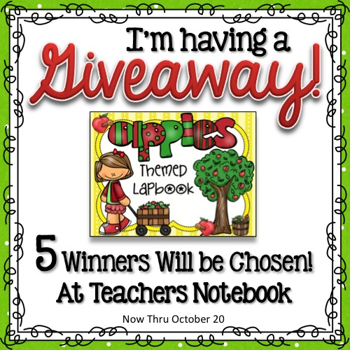 Giveaway ~ Apple Themed Lapbook - 5 Winners will be chosen! Sign up at Teachers Notebook - ends Oct. 20