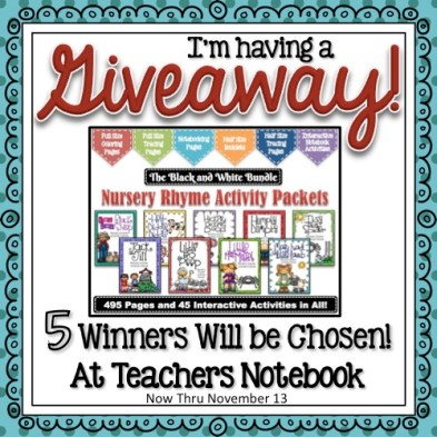 Giveaway! Nursery Rhyme Activity Packets - The Black & White Bundle! Nearly 500 pages - 45 Interactive Activities and much more!