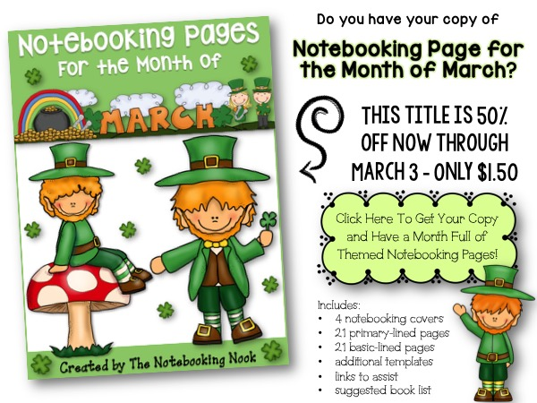 Themed Notebooking Pages for the Month of March - ON SALE 50% OFF now through March 3