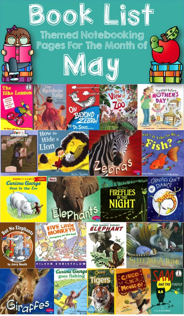 Book List for May Themed Notebooking Pages