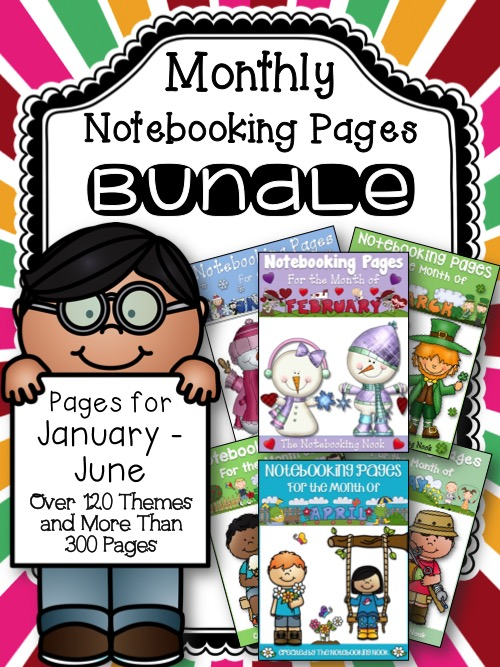 Monthly Themed Notebooking Pages Bundle January-June