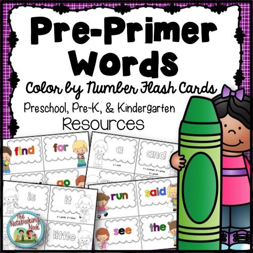 Pre-Primer Color By Number Flash Cards