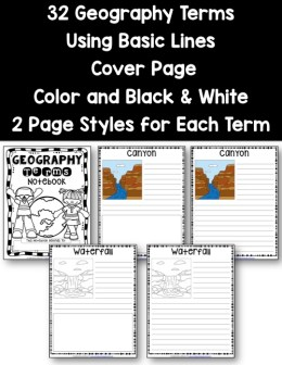 Geography Terms Notebooking Pages - Basic Lines