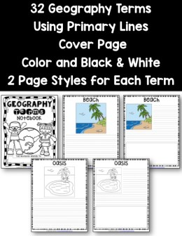Geography Terms Notebooking Pages - Primary Lines