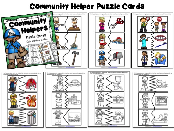 Community Helpers Puzzle Cards