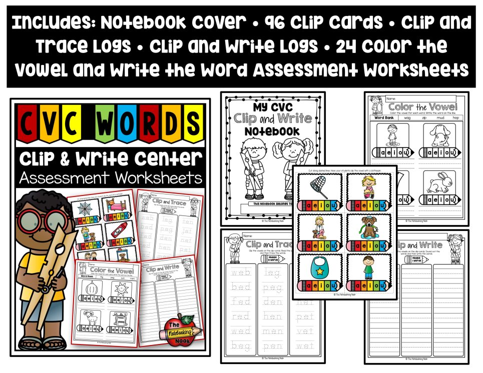 CVC Clip and Write Center with Assessment Worksheets