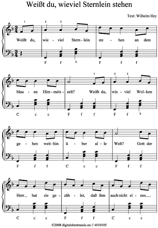 Weit du wieviel Sternlein stehen Akk Abendlied Kinderlied
