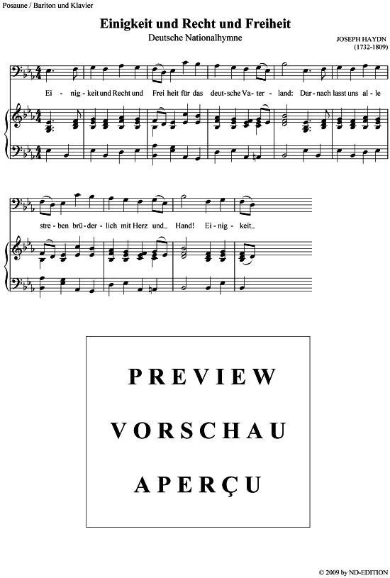 Deutsche Nationalhymne Posaune  Klavier Joseph Haydn