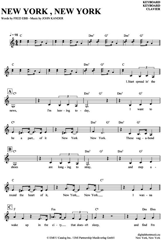 New York New York Keyboard Frank Sinatra PDF Noten