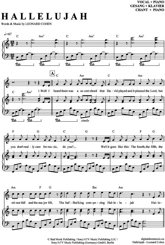 Hallelujah Klavier  Gesang Jeff Buckley  Leonard Cohen PDF Noten