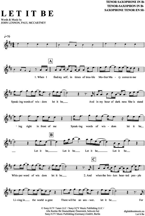 Let it be TenorSax The Beatles PDF Noten