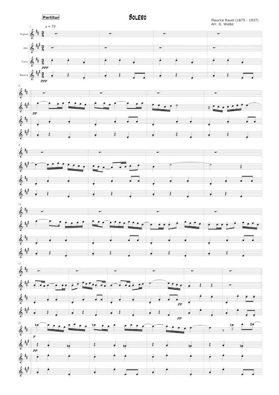 Bolero Saxophonquartett SATB Maurice Ravel arr Gerhard Wiebe Noten fr Saxophon Quartett