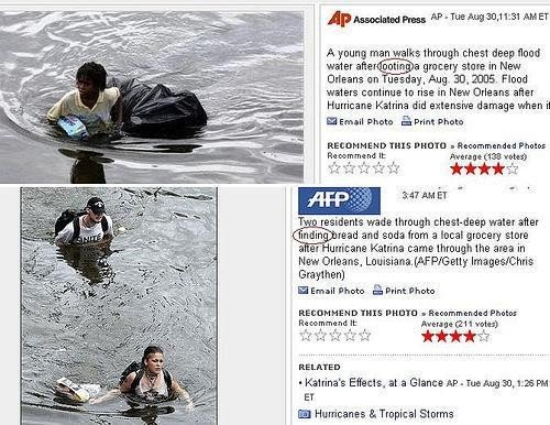 An example of Katrina Media Coverage along racial lines.