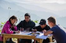 Täglicher Englischunterricht mit dem Team: Laxmi, Yamlal und Ganga