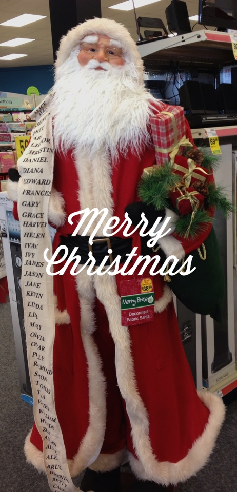 "Santa says, ""Merry Christmas."""
