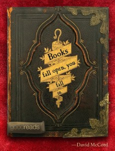 """Books fall open, you fall in"""
