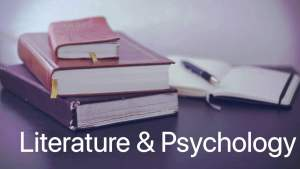 photo of stack of books with heading Literature & Psychology