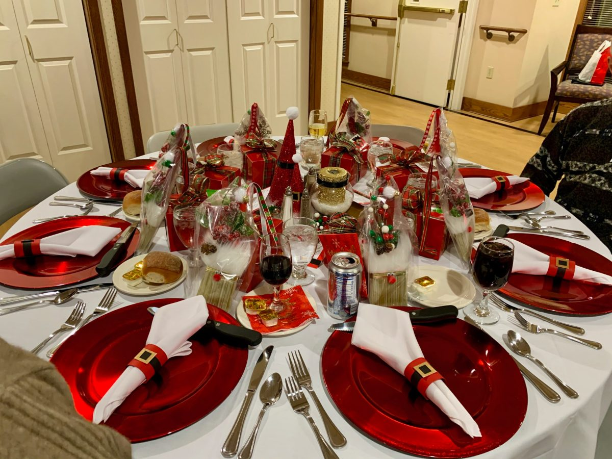 table set with fancy holiday decorations