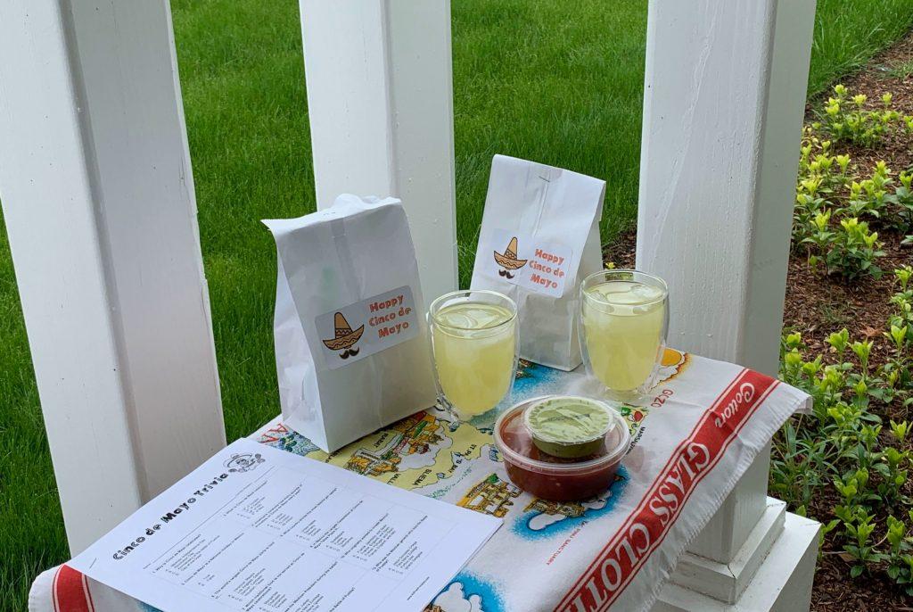cinco de mayo trivia handout, margaritas, chips, guacamole, and salsa