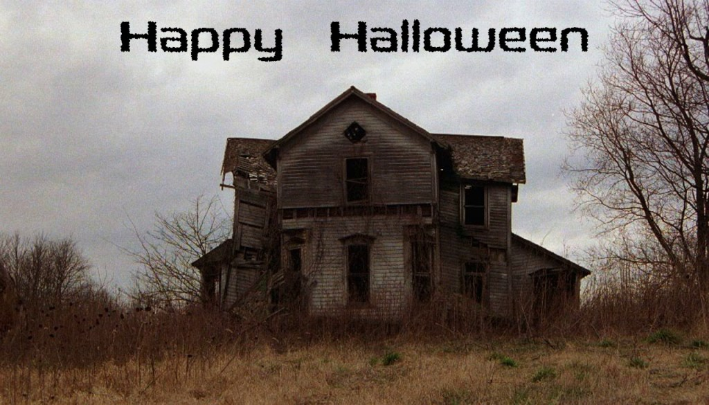"spooky looking house, ""Happy Halloween"""