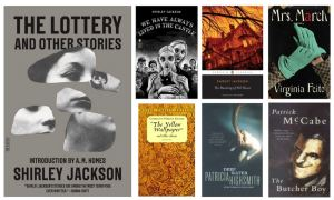 book covers: The Lottery, We Have Always Lived in the Castle, The Haunting of Hill House, Mrs. March, The Yellow Wallpaper, Deep Water, The Butcher Boy