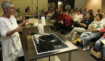 Marcelle Bienvenu food writer for the Times Picayune in New Orleans here does  cooking demonstration in Covington.
