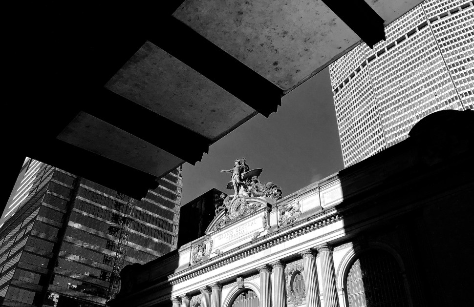 """""""Mercury"""" by Jules Alexis Coulan atop Grand Central Terminal. Photo by Rick Stachura. January 14, 2019."""