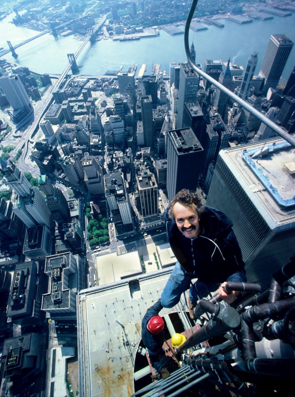 Peter B. Kaplan, on the antenna of the North Tower of the World Trade Center. Photo by Mr. Kaplan. Undated. Courtesy of the New York Times.