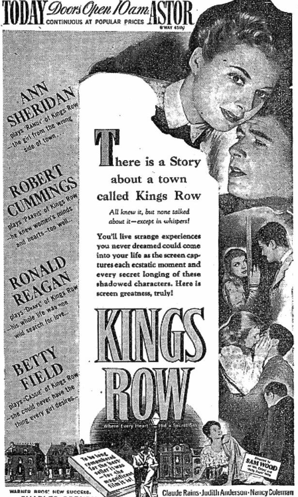 "The New York Times. Page 23. Tuesday, February 3, 1942. The ad on the day ""Kings Row"" opened. Screenshot by Rick Stachura."