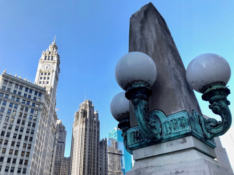 The Wrigley Building and Tribune Tower. From East Wacker Drive and the DuSable Bridge. Photo by Rick Stachura. May 23, 2019.