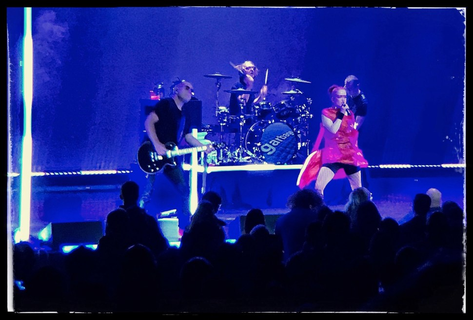 Steve Marker, Butch Vig, Shirley Manson, and Eric Avery of Garbage at Kings Theatre. Photo by Rick Stachura. October 27, 2018.