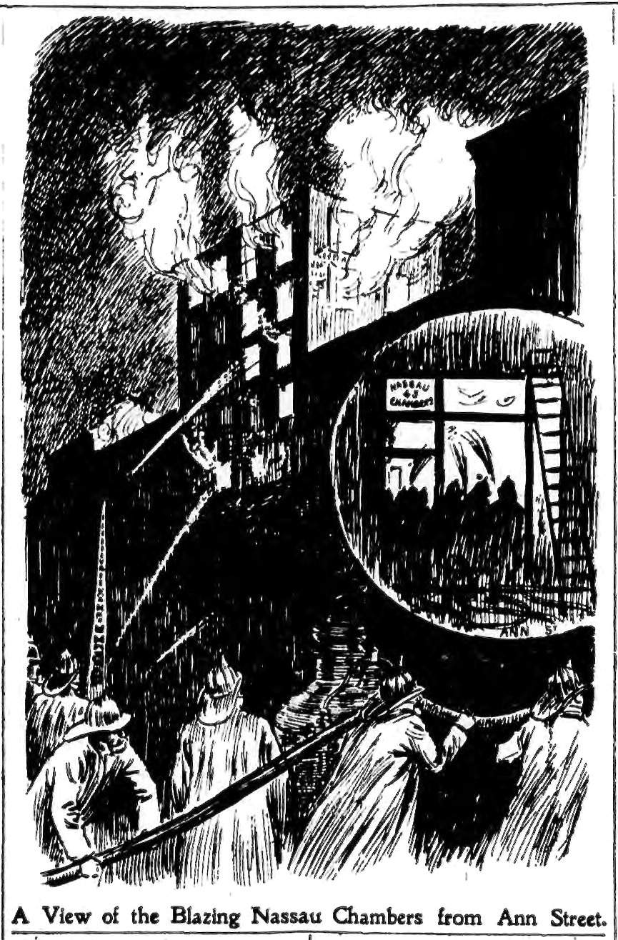 Nassau Street Fire. Illustration from the Saturday Morning Edition of the New York Press, Page 2. February 12, 1898.