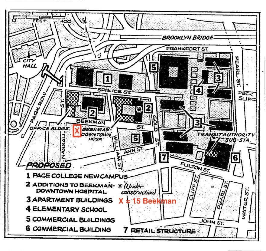 Map by Unknown. Brooklyn Bridge Southwest Urban Renewal Area. From the New York Times. January 10, 1964.