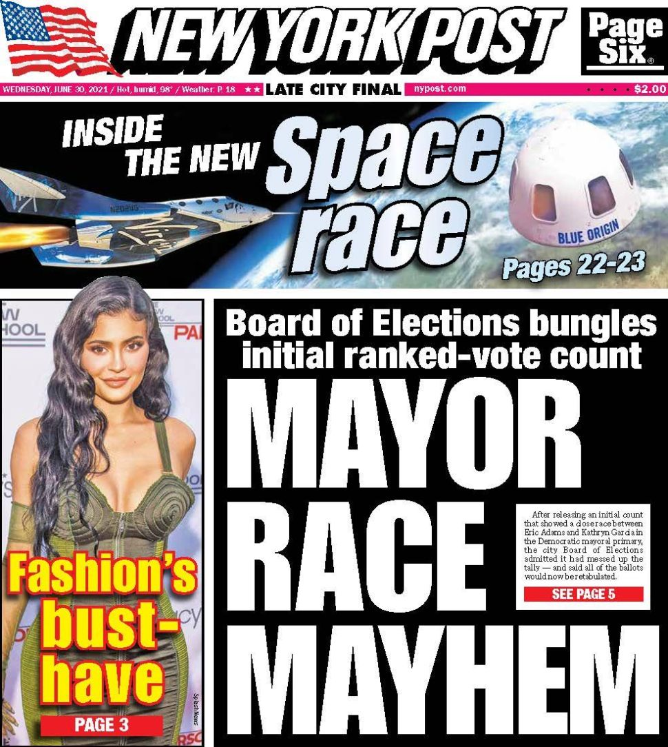 New York Post Cover. June 30, 2021.