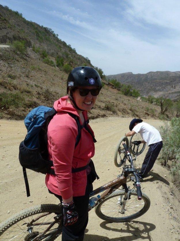 Eva mountain biking in Sucre