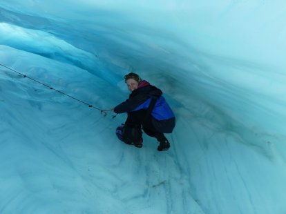 Crawling through the blue ice