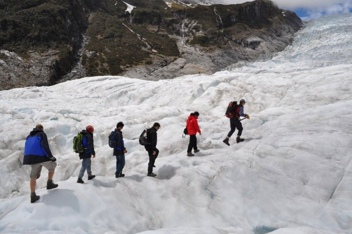 Walking up the Fox Glacier