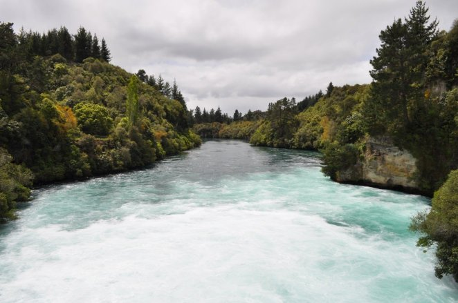 Huka falls spill into the Waikato River