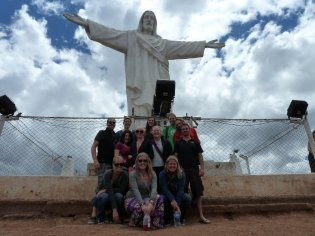 Us visiting the Statue of Christ, small version of the statue in Rio