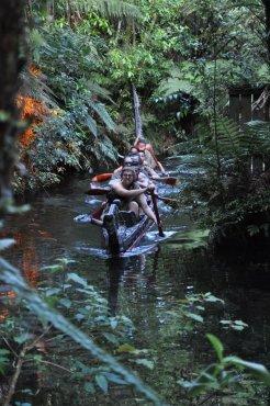 Maori warriors arrive by boat
