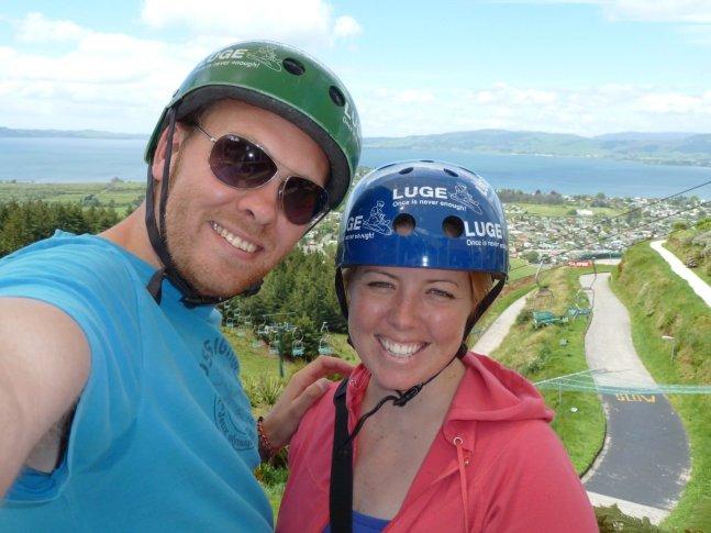 Bill & Eva at Rotorua luge