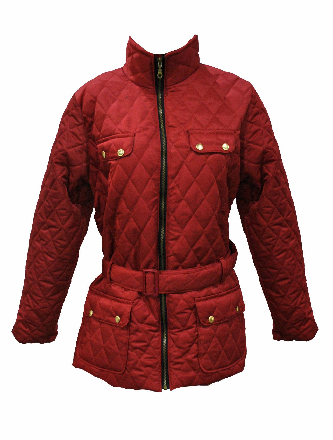 La S Plus Size Red Quilted Jacket