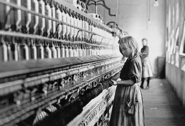 Girl working at a cotton mill