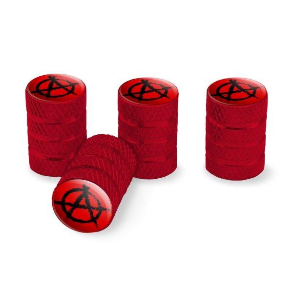 Anarchy Symbol Red Tire Rim Wheel Aluminum Valve Stem Caps