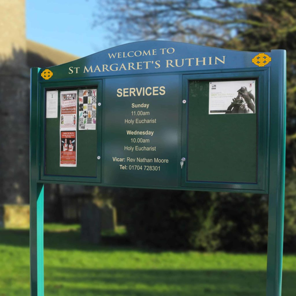 Imperium Double Door Church Noticeboard With Signage