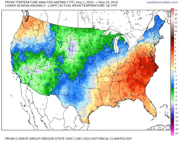 Mapa temperaturas maio