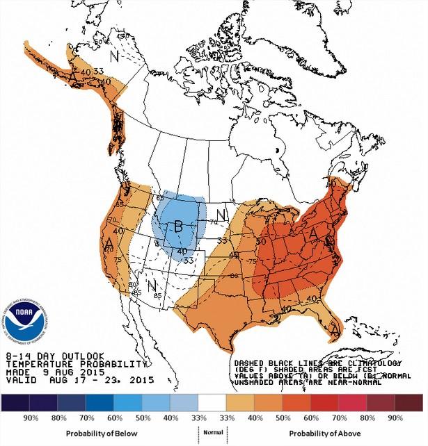 Temperaturas nos EUA entre os dias 17 a 23 de agosto - Fonte: NOAA