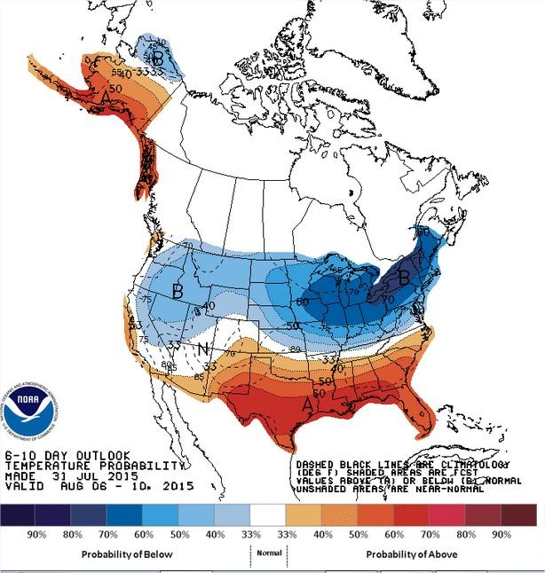 Temperaturas nos EUA entre os dias 6 a 10 de agosto - Fonte: NOAA