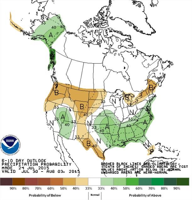 Chuvas nos EUA entre os dias 30 de julho e 3 de agosto - Fonte: NOAA